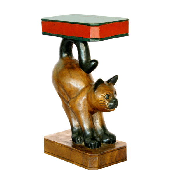 carved painted wooden stretching cat end table
