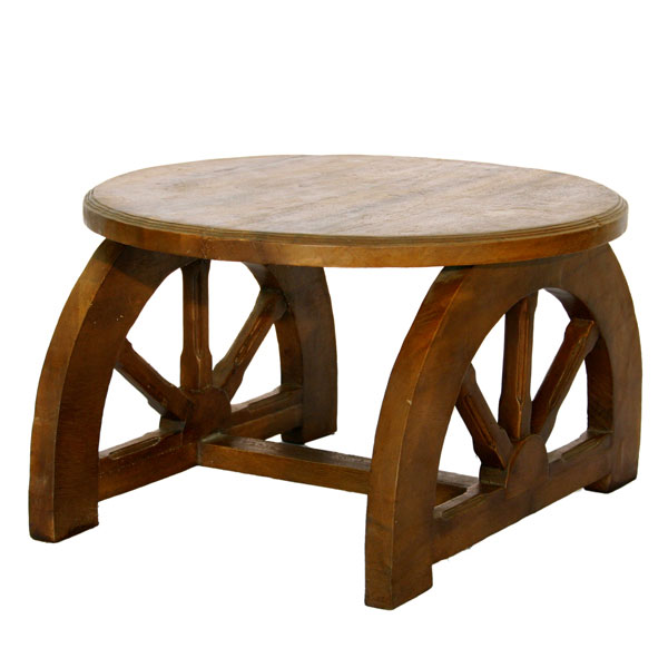 Wooden Wheel Table ~ Hand carved wooden wagon wheel occasional table
