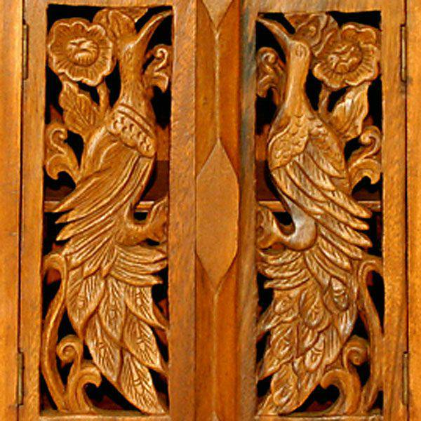 24 Carved Peacock Armoire With Natural Finish