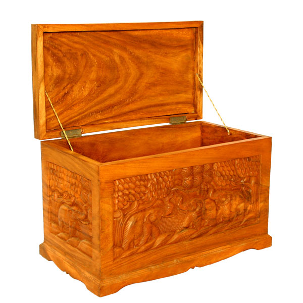 Carved Thai Elephant Storage Chest / Coffee Table